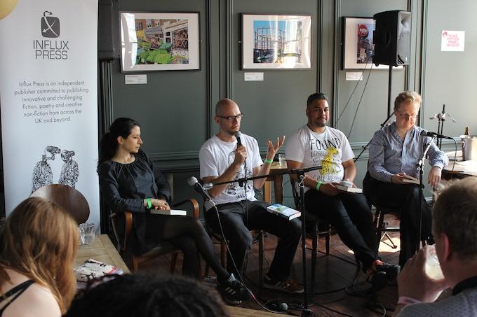 Chloe Aridjis, Kit Caless, Nikesh Shukla and Will Wiles at the Stoke Newington Literary Festival, 2016