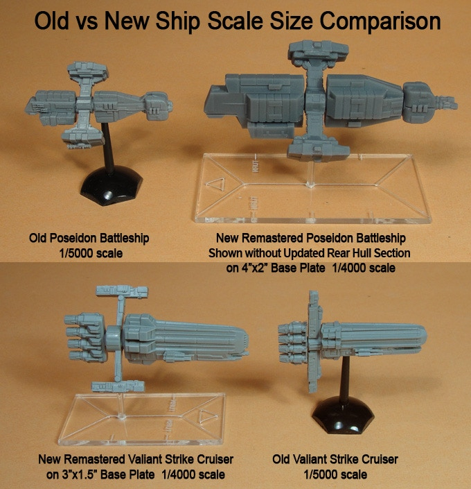 Old and New Poseidon without update rear hull section and Valiant Spaceship Miniatures.