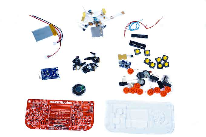 You'll get a bunch of electronic components needed for building your own game console