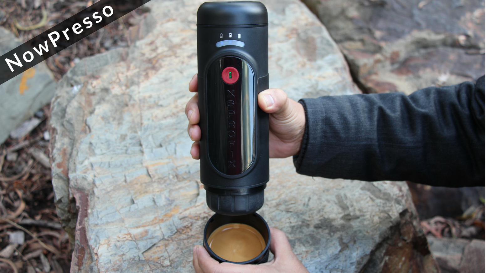 Automatically pumps and pours coffee for you into detachable drinking cup. Boils Water anywhere you go. Operates from one button. Powered by removable lithium battery. Use Nespresso® Capsules or your Espresso Grind.