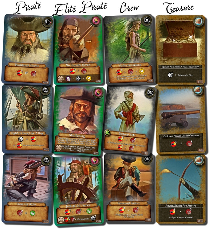 Each card remains true to the time period from Pirate's initial deck, to Elite Pirate, Crew, and Treasure cards. All card image art was created with pens, paints, and pencils to reflect an authenticity unique to today's digital age.
