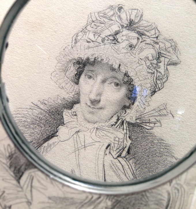 Portrait of Mrs. John Mackie, by Jean-Auguste-Dominique Ingres, 1816 (Photo by me while doing research at The Victoria & Albert Museum, London). Ingres' drawings are meticulous but tiny, leading some scholars to suggest Ingres used a camera lucida