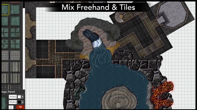 World Engine lets you blend pre-made tiles with freehand drawing to get the exact map you want