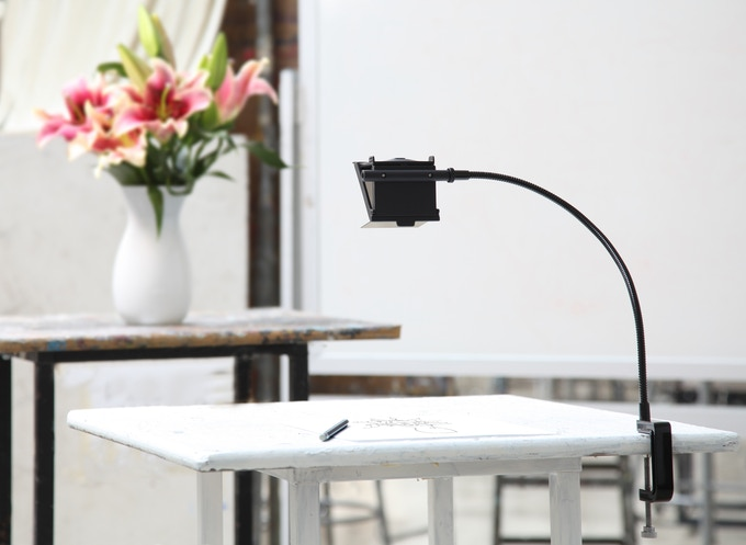 The NeoLucida XL setup: Clamp to a table, position the viewer over your page with your subject in front of you.