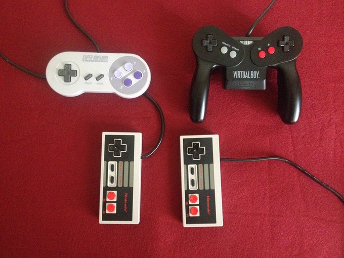 Spook-o'-tron can use dual NES controllers, a single SNES controller (with adapter), or even a modified Virtual Boy controller! Why? Because we can.