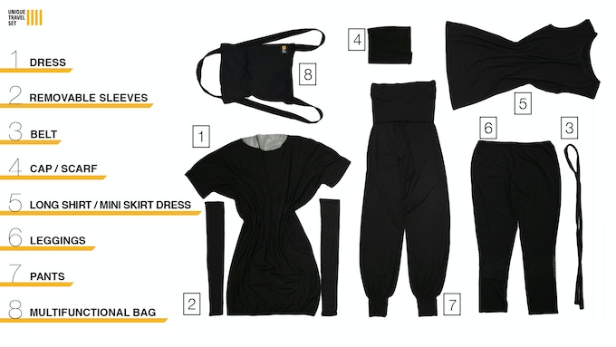 7 pieces of women's clothing packed into 1 magic bag = 30 different styles for a 3 to 5 day trip. Weighs only 1.7 kilo or just below 4 pounds.