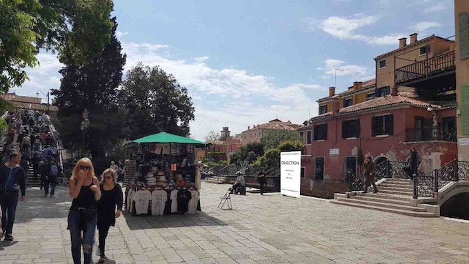 Work in progress: The Pavilion of Humanity setting up next to the Academia bridge at the heart of Venice