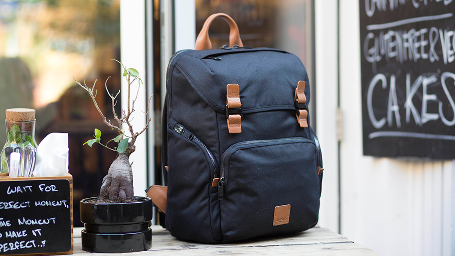 Wireless charging, Bluetooth tracking, unique device protection & organisation, packed into a stunning water-repellent backpack