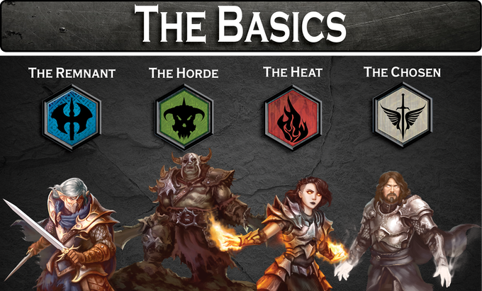 Each player selects a faction Sigil and a Warlord to fight for their Sigil. Each Warlord is represented on the board by a matching standee.