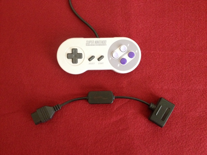 A prototype of the SNES-to-NES controller adapter.