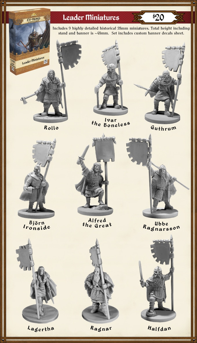 Add the Viking Leader Miniatures and Flag Decals to any Pledge level for $20. (Limited Availability - MSRP $30)