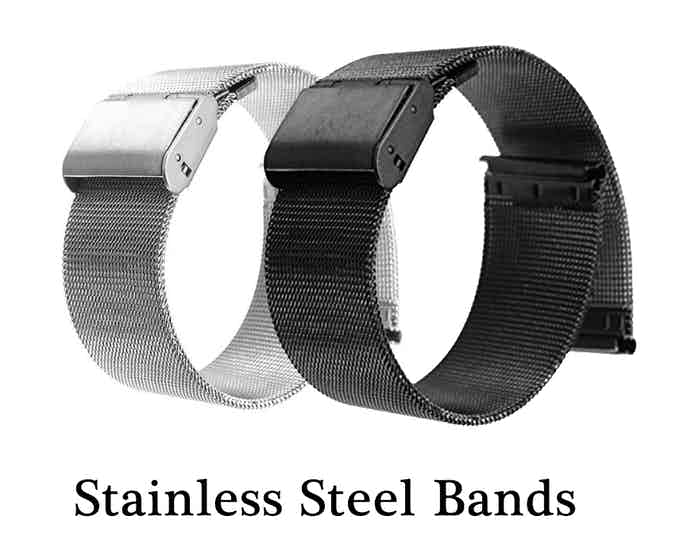 Black and silver stainless steel bands.