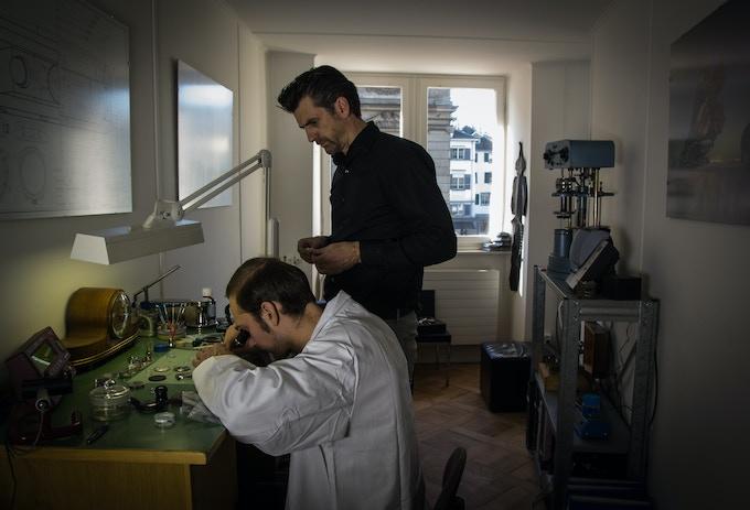 Christoph & Patrick in the atelier in Zurich.