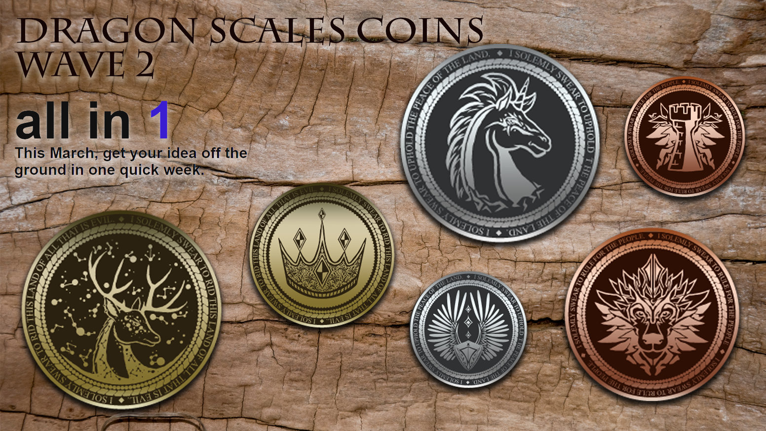 A one week project. High quality metal coins for RPG, Tabletop Games & LARP. Beautiful fantasy designs will free your imagination.