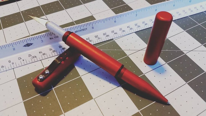Utility Pen Shown in Red Anodize