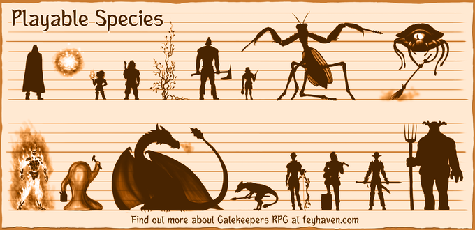 Size comparison of playable species