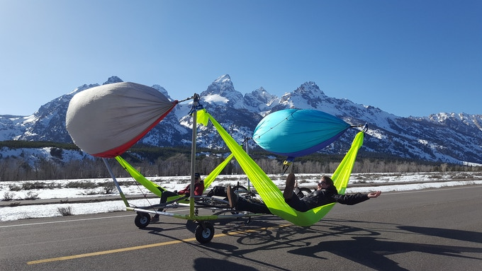 Hammocks providing wind power for Hammocraft™ crusing (for use only on roads closed to vehicles)