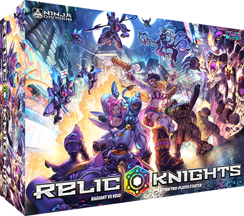 Relic Knights is an anime-themed miniature skirmish game featuring diceless game mechanics and gorgeous miniatures.