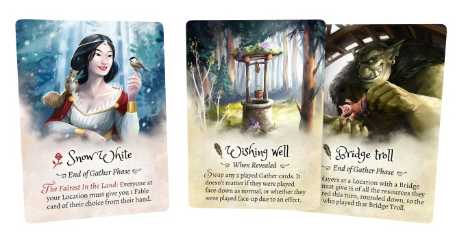 On top of receiving the assistance of Snow White, this Player could choose to change the outcome of the Gather card by playing a Wishing Well or a Bridge Troll.
