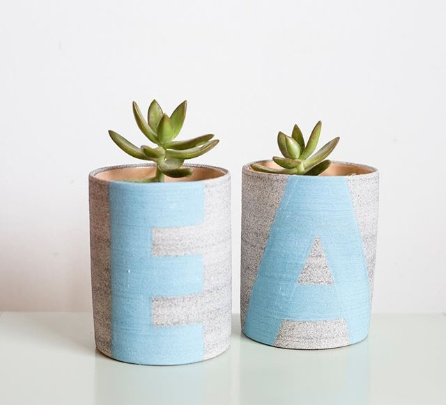 "3.5"" x 4.5"" non-drippy planter, monogrammed with your initials in the color of your choice"