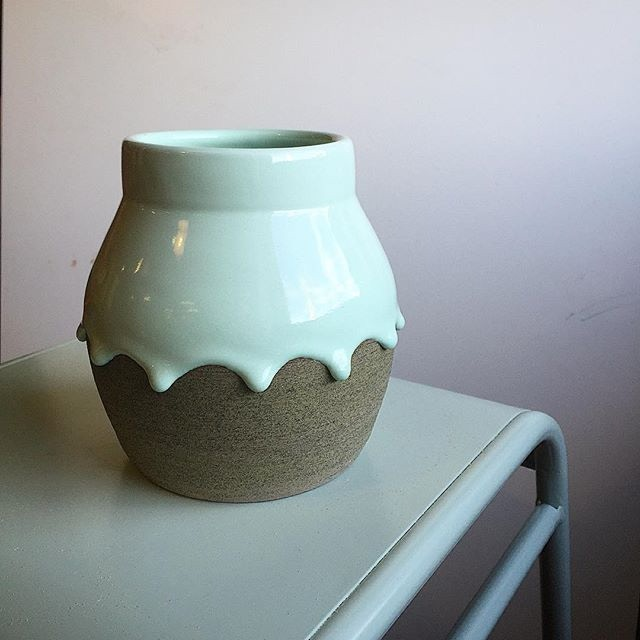 Large belly vase shown here in the Mint/Avocado colorway
