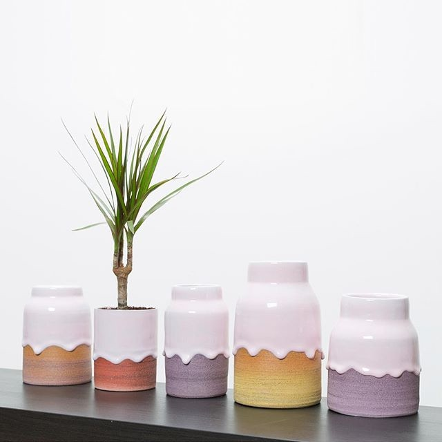 A special grouping of Bubblegum/Ombré vases shown here
