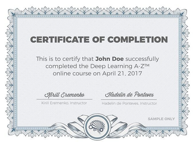 Deep Learning A-Z™: Online Course in Artificial Intelligence
