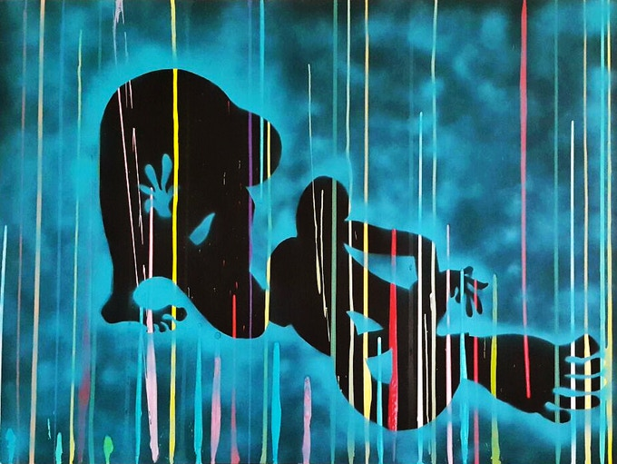 £7900 donation: Original work on canvas by artist Ekin Onat. 120 x 160cm, transfer on canvas, acrylic.