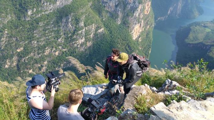 The team shooting on the beautiful Qianxinan mountain tops