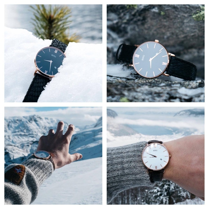 The contrast between the roughness of the strap and the simple and elegant design of the watch is what makes BERG a truly unique timepiece.