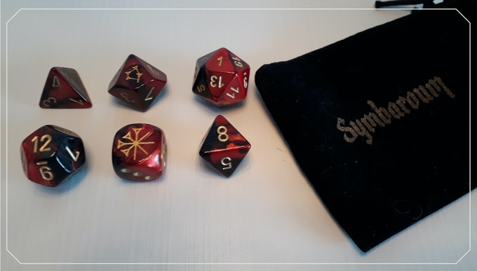 The dice+bag produced by our French partner A.K.A. Games gives you a rough idea of what to expect.
