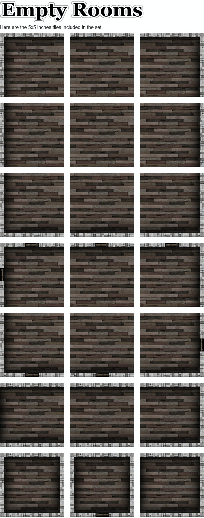 Here are the tiles included in the Empty Rooms Set