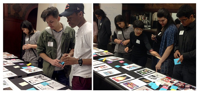 Chicago Architecture Foundation Teen Fellows reviewing artists' entries in March 2016.