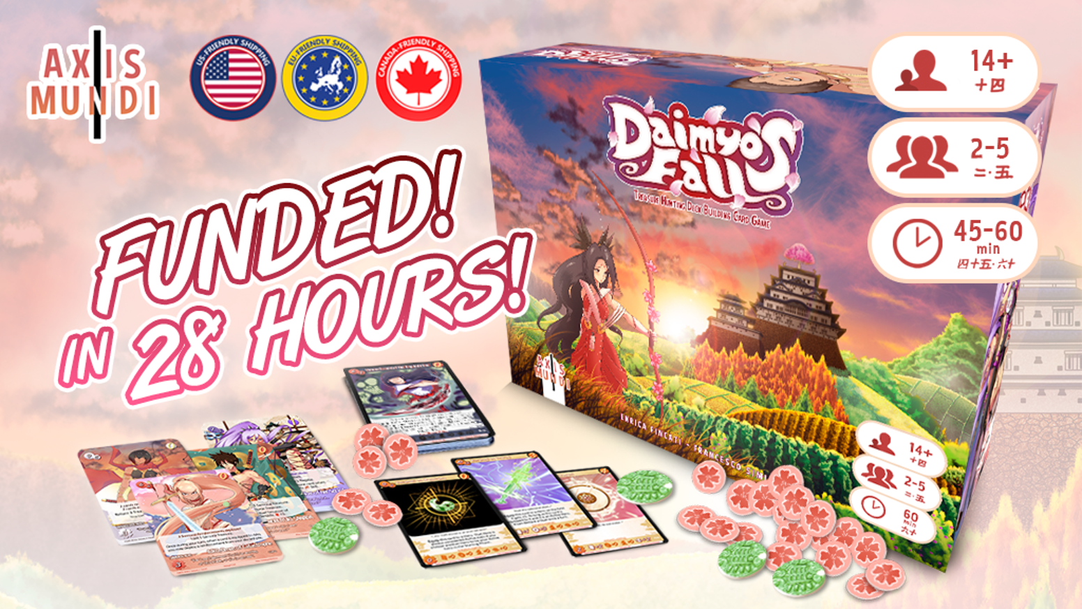 Conquer the dead daimyo's palace and seize the treasure in this stand alone 1-5 player deck building card game!