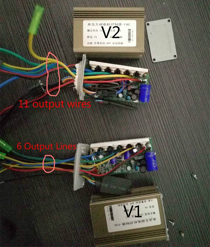 An image depicting the difference in the electronic controllers for V1 vs V2. We added new sensors and functionalities to the V2, UrbanX, requiring a more complex controller.