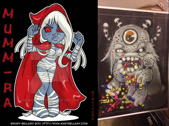 Mumm Ra by Mary Bellamy and Crayon Monster by Freedom Lee Drudge