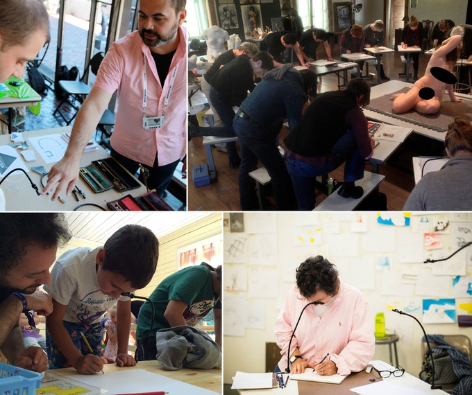 Two years of NeoLucida workshops gave me first-hand experience with users. Clockwise from top left: Demo at Open Hardware Summit, MIT; Manifest Drawing Center, Cincinnati; Anderson Ranch Arts Center, Aspen; Children's Camp, Valdai, Russia.