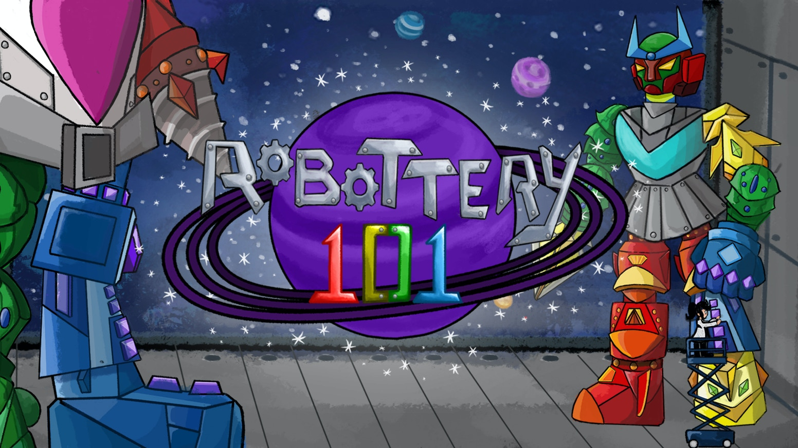 Robottery 101 is a set collection card game about building giant robots in space to dazzle your professors at the Robot Science Fair!