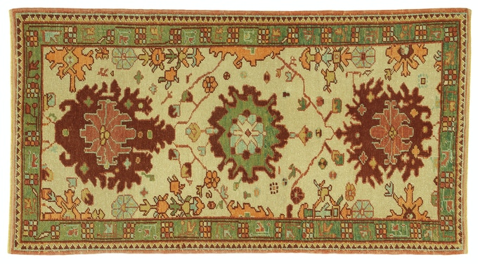 This 3'X5' Ushak rug has over 80,000 knots and was handcrafted in Adiyaman refugee camp