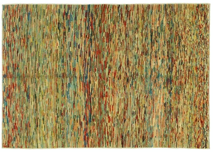 Let your colors burst by selecting this joyful, modernist, Stream of Consciousness, creative outlet. This is one of the first rugs that our refugee weavers will learn
