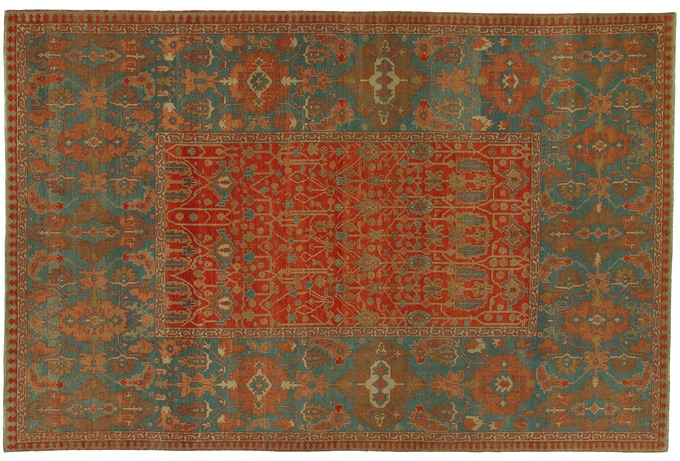This inspiring Heriz is handcrafted of nearly 1,500,000 individual knots. Selecting this rug will employ and employ one refugee for over 18 months