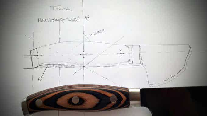 Development sketch of the new handle with new rivet orientation,where as Letter E in Diagram stands for Ergonomie Angle