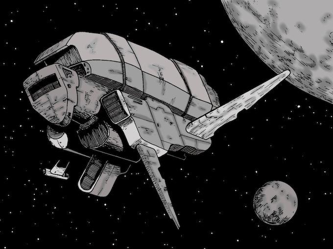 A ship travels between the Splinter Moons