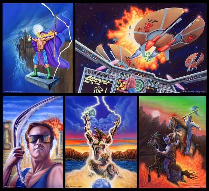 Solstice, Wing Commander, Powerblade, Wolfchild and Horsemen of the Apocalypse original paintings.