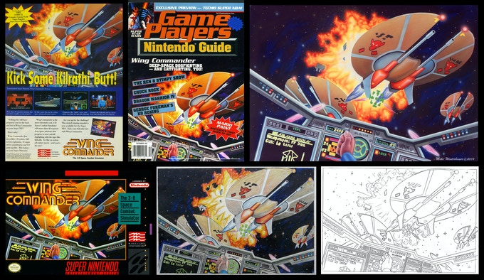 Magazine ads, painting, box cover, color comp and drawing for Wing Commander
