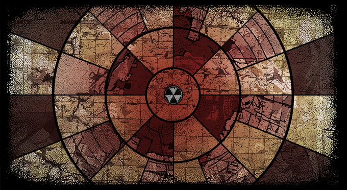 """The """"back"""" of the board. Players begin in the center and move outward to scavenge for supplies"""