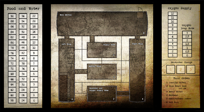 """The """"front"""" of the board consists of 6 explorable sections of the bunker and two side columns for tracking supplies. When the main phase begins, the board is flipped to this side, and the two tracking columns separate away to be managed by the GM"""