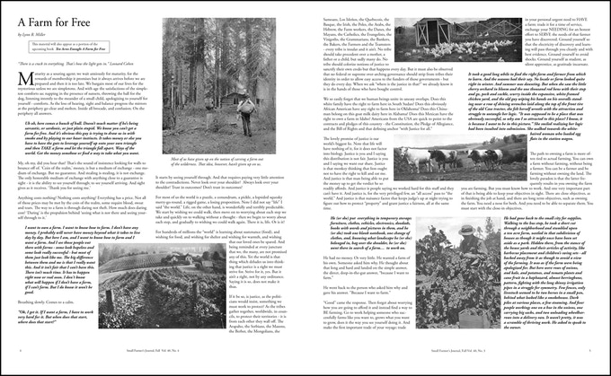"""The opening two pages of the editorial from the 160th edition, """"A Farm for Free."""""""