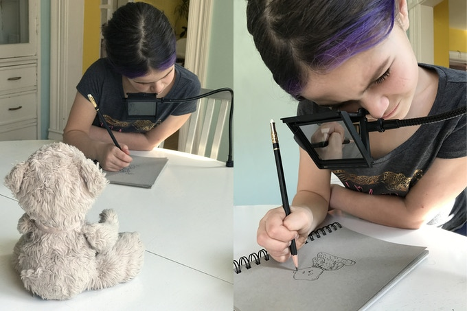 That's my 8-year-old daughter using the NeoLucida XL to draw her favorite teddy bear. Fun!