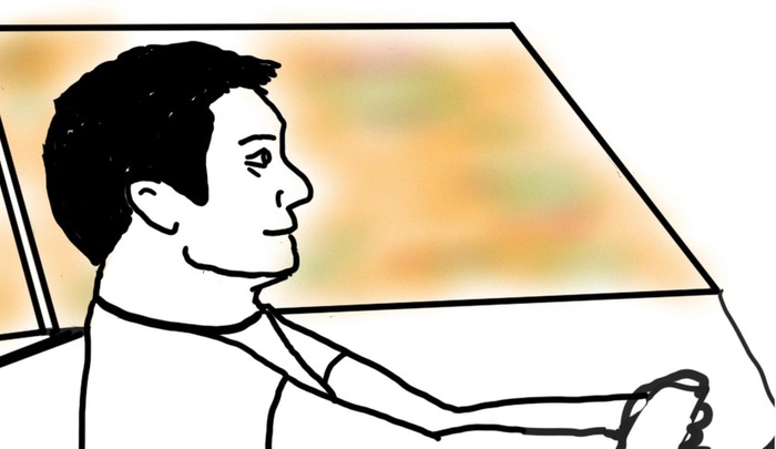 Jack Driving - Early initial sketch for the rough animatic    ©Ginosaji Pictures